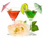 Rose and two glasses of cocktails Royalty Free Stock Photo