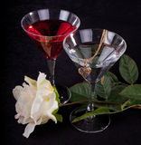 Rose and two glasses of cocktails Stock Image