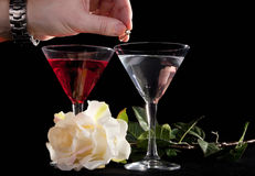 Rose and two glasses of cocktails Stock Photo