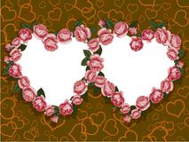 Rose two hearts frame Stock Photos