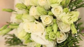 Rose and two rings. Beautiful wedding bouquet of white roses stock video