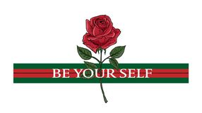 Rose and typography, Be your self woman slogan, tee shirt graphic, printed design. t-shirt printing. And embroidery apparel vector illustration