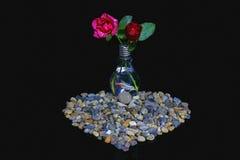 Rose in un vaso con un pesce Fotografia Stock Libera da Diritti