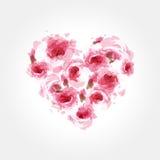 Rose in una figura di un cuore illustrazione di stock