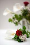 Rose und Calla auf einem weißen Hintergrund Stockfotos