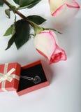 Rose und Geschenk mit Schmucksachedekoration Stockfotografie