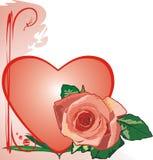 Rose und Inneres. Valentinsgrußtag lizenzfreie abbildung