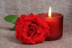 Rose und Kerze Lizenzfreies Stockbild