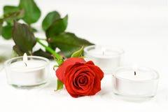Rose und Kerzen Stockfotografie
