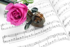 Rose und Violine stockfotos