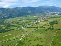 Rose Valley, Bulgaria. Aerial view of Rose Valley in Bulgaria royalty free stock photography