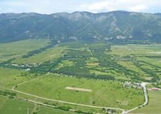 Rose Valley, Bulgaria. Aerial view of Rose Valley in Central Bulgaria stock photos