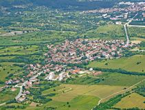 Rose Valley, Bulgaria. Aerial view of a village in Rose Valley stock images