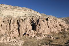 Rose Valley in Cavusin-Dorp, Cappadocia, Nevsehir, Turkije stock foto