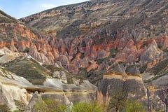 Rose valley near Goreme, Turkey. Beautiful stone cliffs in valley named Rose valley near Meskendir, Goreme, Turkey royalty free stock images
