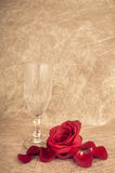 Rose in a vase on a artsy background with copyspace Royalty Free Stock Image