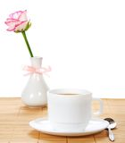 Rose in vase with bow and tea-things Royalty Free Stock Photography