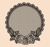 Rose vector lace by hand drawing.Rose lace art highly detailed in line art style. Rose vector lace by hand drawing.Beautiful flower on brown background.Rose lace Royalty Free Stock Images