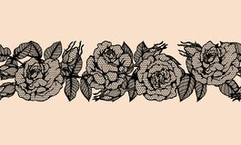 Rose vector lace by hand drawing.Rose lace art highly detailed in line art style. Rose vector lace by hand drawing.Beautiful flower on brown background.Rose lace Royalty Free Stock Image