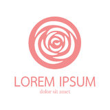 Rose vector logo design template. Minimal petal beauty icon, salon floral abstract sign, vector illustration Stock Photo