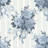 Rose Vintage Background azul Modelo floral Imagenes de archivo