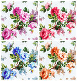 rose vintage on fabric background, set 4 color Stock Photo
