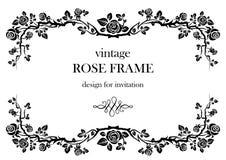Rose vintage frame. Ornamental frame with roses. Solemn floral element for design banner,invitation, leaflet, card, poster and so on. Wedding or jubilee theme Royalty Free Stock Images