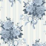Rose Vintage Wallpaper azul Teste padrão floral ilustração stock