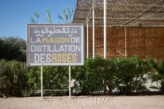 Rose water distillery sign, morroco royalty free stock image