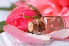 Rose water from petals of pink roses Royalty Free Stock Image