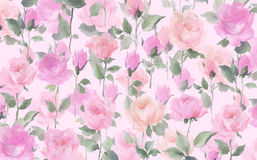 Rose watercolor seamless pattern Impressionist oil painting on a white ground. Rose wall paper original art  colorful watercolor painting wallpaper Royalty Free Stock Photos