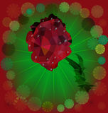 Rose with waterdrops. Polygonal red flower with fan-shaped background Royalty Free Stock Photo