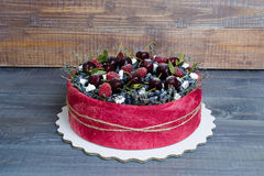 Rose wedding biscuit fruit cake with berries and some green Royalty Free Stock Photo