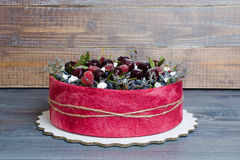 Rose wedding biscuit fruit cake with berries and some green Royalty Free Stock Photography