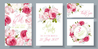 Rose wedding invitation. Vector wedding invitations set with garden roses and tulip flowers on white background. Can be used as floral design for natural Stock Image