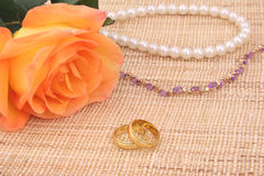 Rose and Wedding Rings. With Pearls and Amethyst Stock Image