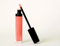 Rose wet lipstick with brush Royalty Free Stock Photos