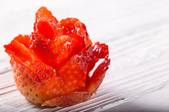 The rose which is cut out from ripe strawberry Stock Photography