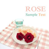 Rose on white dish Stock Photo