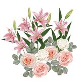 Rose white and pink with lilies flower. Vector royalty free illustration