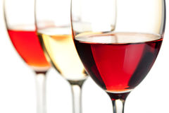 Rose, white and red wine Royalty Free Stock Photos