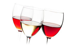 Rose, white and red wine Stock Photo