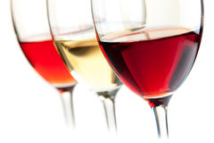 Rose, white and red wine Stock Image