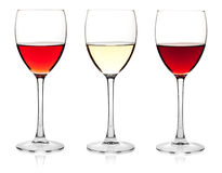 Rose, white and red wine Royalty Free Stock Image