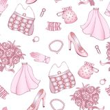 Rose and white wedding seamless pattern. Clipping mask Royalty Free Stock Images