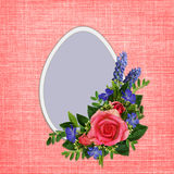 Rose and wild flowers bouquet with Easter egg Stock Image