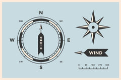 Rose Wind and Compass. Set of vintage arrows, symbols, objects for Navigation Royalty Free Stock Photos