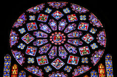 Rose-window. Of the Notre Dame cathedral in Chartres, France Stock Image