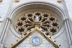 Rose window, Basilica of Notre-Dame de Nice, France Royalty Free Stock Photos