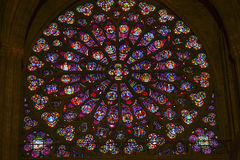 Rose Window Christ Stained Glass Notre Dame Paris France Royaltyfria Foton